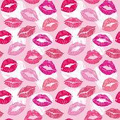 Female lips lipstick kiss seamless pattern cosmetics and love background illustration
