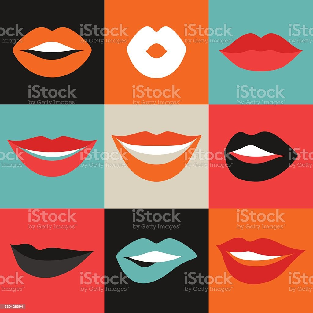 Female lips set. Mouths with red lipstick in variety of vector art illustration