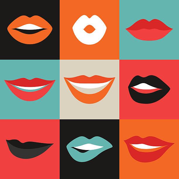 Femme lèvres ensemble. Bouche avec des lèvres rouges en - Illustration vectorielle