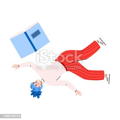 istock Female literary fan floating, flying, falling inspired by love to reading books. 1299139744
