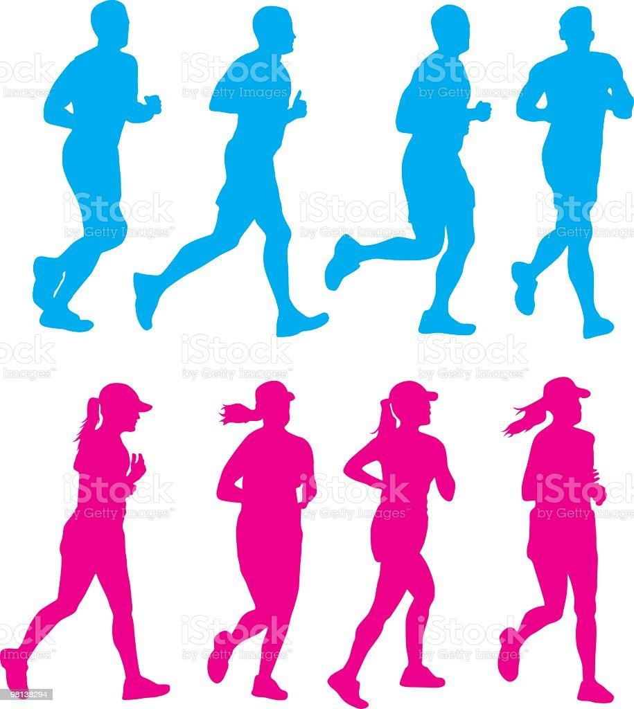 Female & Male Runners royalty-free stock vector art