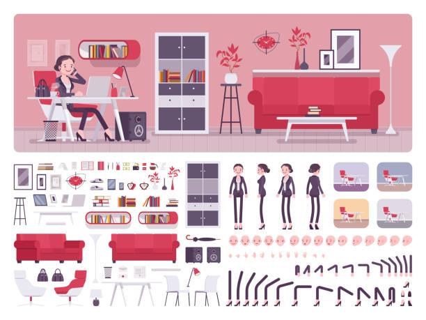 ilustrações, clipart, desenhos animados e ícones de kit de criação de escritório de negócios gerente feminino - landscape creation kit