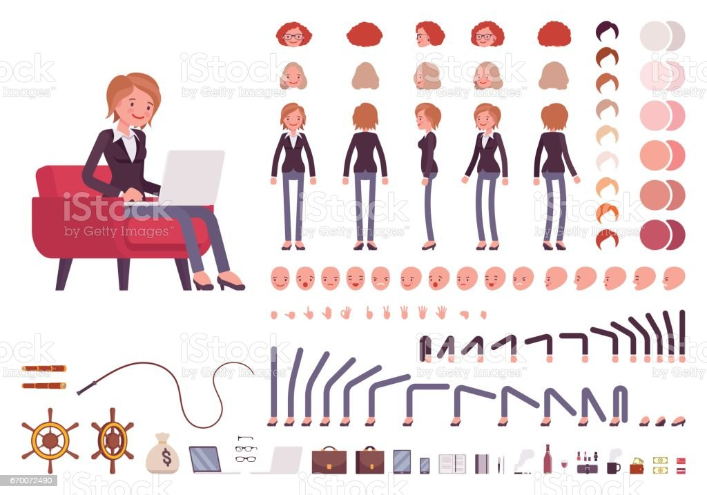 Female manager character creation set vector art illustration