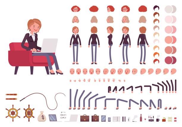 managerin schöpfung zeichensatz - chefin stock-grafiken, -clipart, -cartoons und -symbole