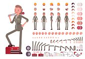 Female mechanic character creation set. Build your own design. Cartoon vector flat-style infographic illustration