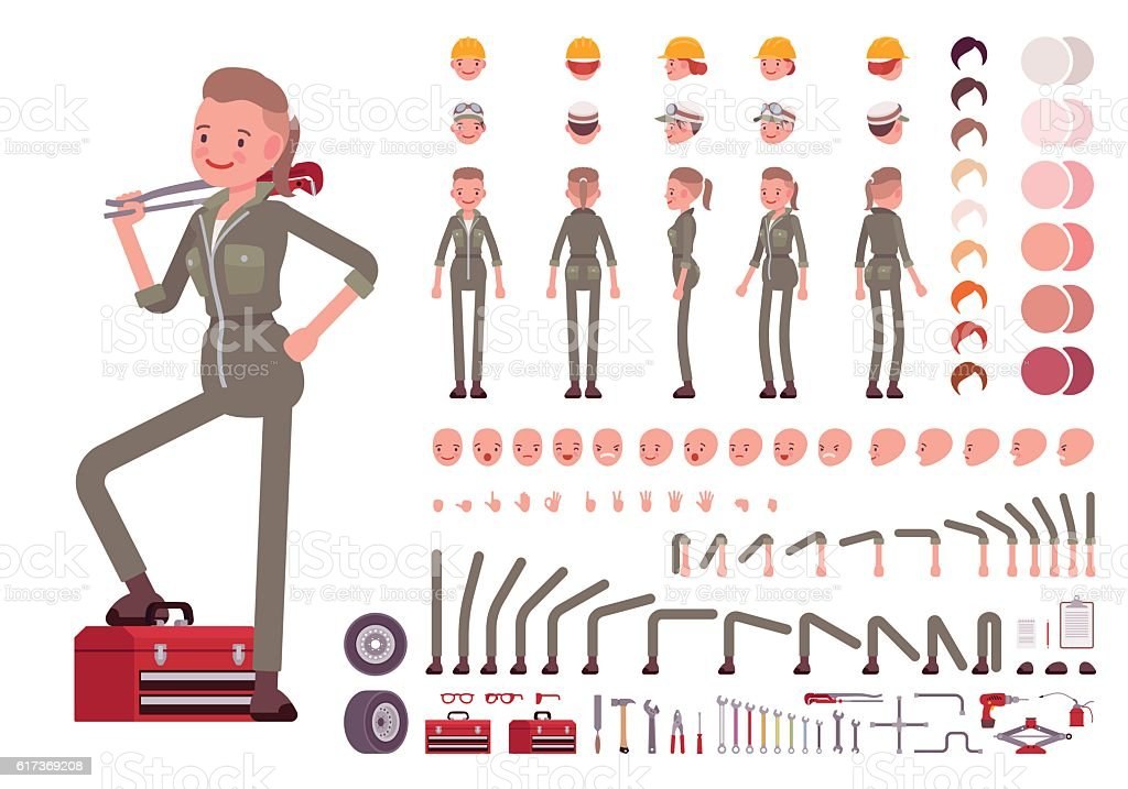 Female mechanic character creation set vector art illustration
