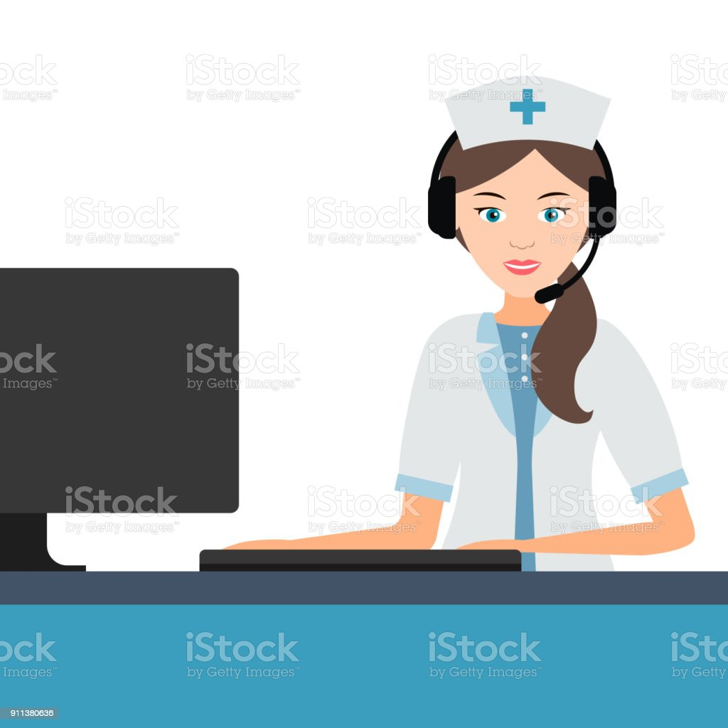 Female medical professional doctor or nurse answers the calls. vector art illustration
