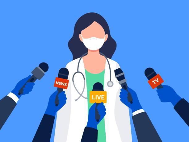 illustrations, cliparts, dessins animés et icônes de une travailleuse médicale qui donne une entrevue. - interview