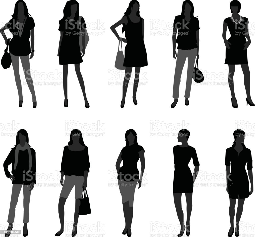 Female Models Posing For Fashion In Silhouette Vector ...