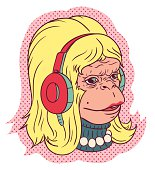 The female monkey listen to music by headphone.Retro style illustration.