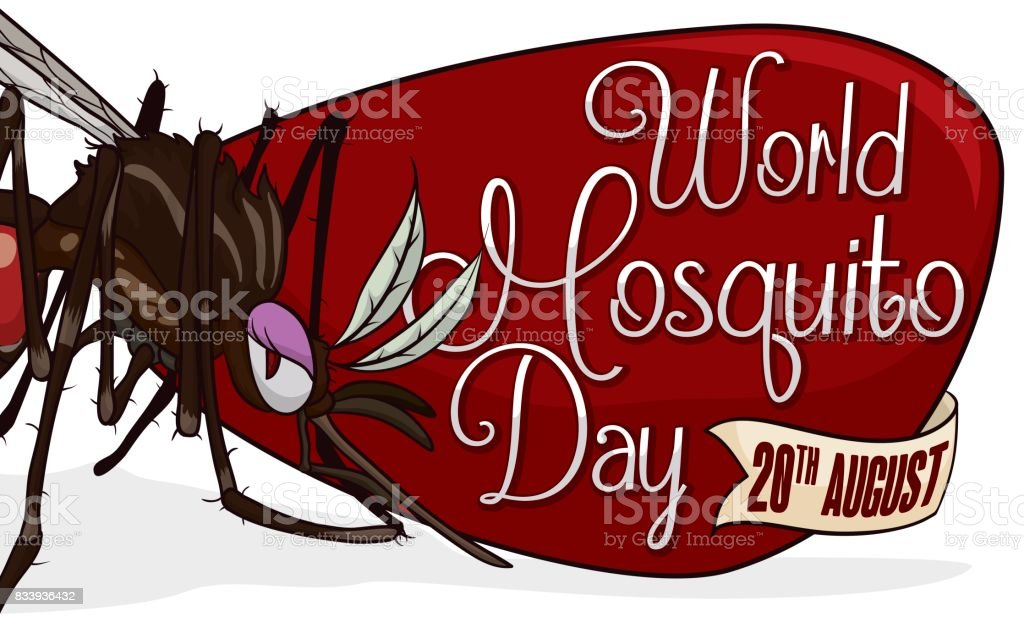 Female Mosquito over Sign and Ribbon for World Mosquito Day vector art illustration