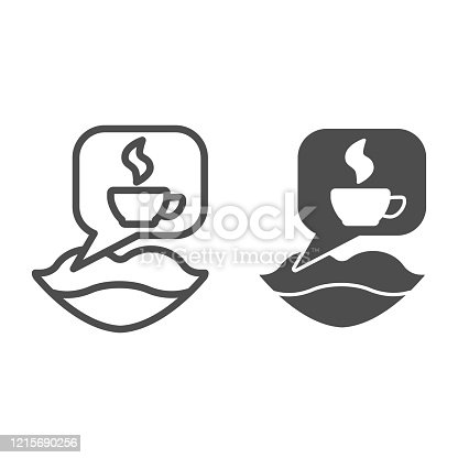 Female mouth and coffee break line and solid icon. Lips and cup steam bubble symbol, outline style pictogram on white background. Caffeine or cafe sign for mobile concept, web design. Vector graphics