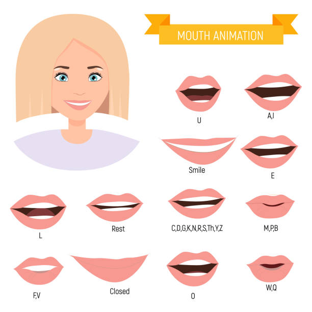Female mouth animation. Girl phoneme mouth chart. Alphabet pronunciation vector art illustration