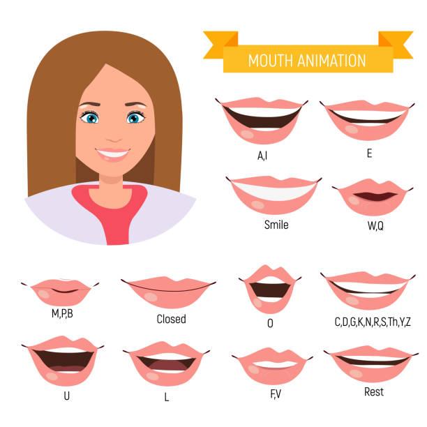 female mouth animation. woman phoneme mouth chart. alphabet pronunciation - język otwór gębowy stock illustrations