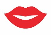 Red Female mouth icon isolated on white background