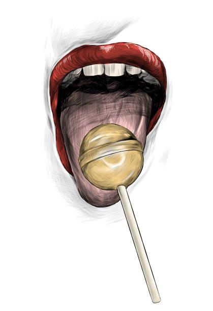 female mouth wide open with tongue sticking forward on tongue lies round Lollipop – artystyczna grafika wektorowa