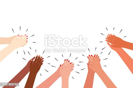Female multicultural hands applaud. Women clap. Greetings, thanks, support Vector illustration on