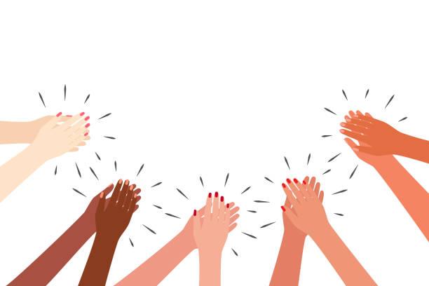 weibliche multikulturelle hände applaudieren. frauen klatschen. grüße, danke, unterstützung. vektor-illustration auf weißem hintergrund. - danke stock-grafiken, -clipart, -cartoons und -symbole