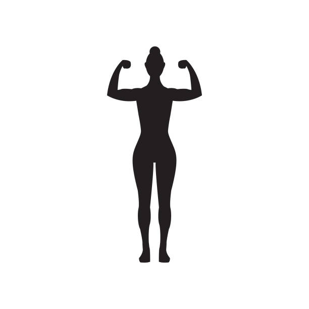 Female muscle flexing fitness vector icon, woman silhouette flexing arms vector art illustration