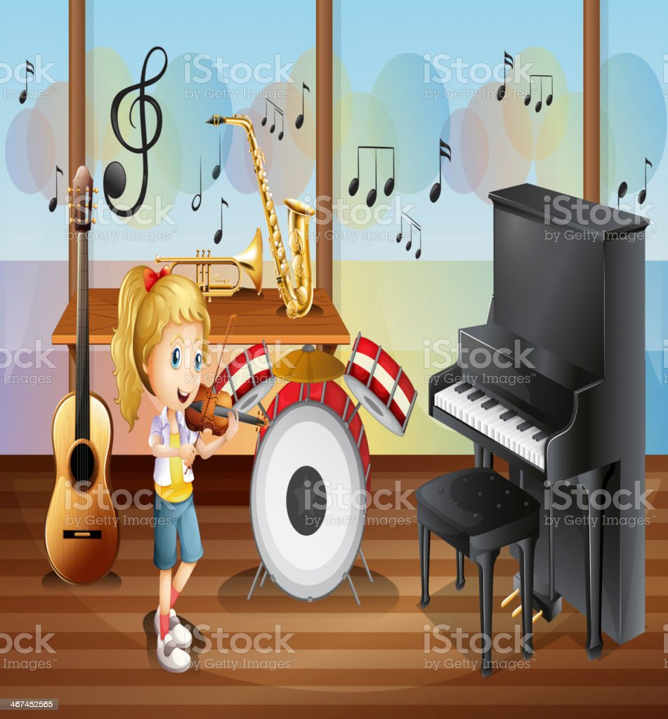 female musician inside the room with musical instruments vector art illustration