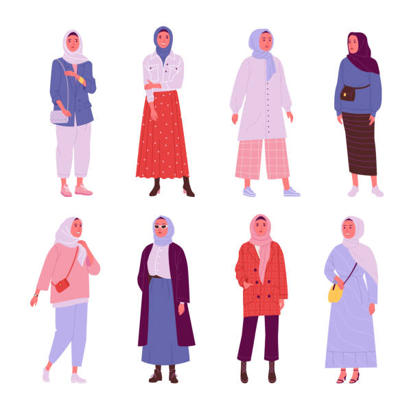 Female Muslim daily outfit collection. Vector illustration of young Muslim women wearing trendy clothes in flat cartoon style. Isolated on white. religious veil stock illustrations