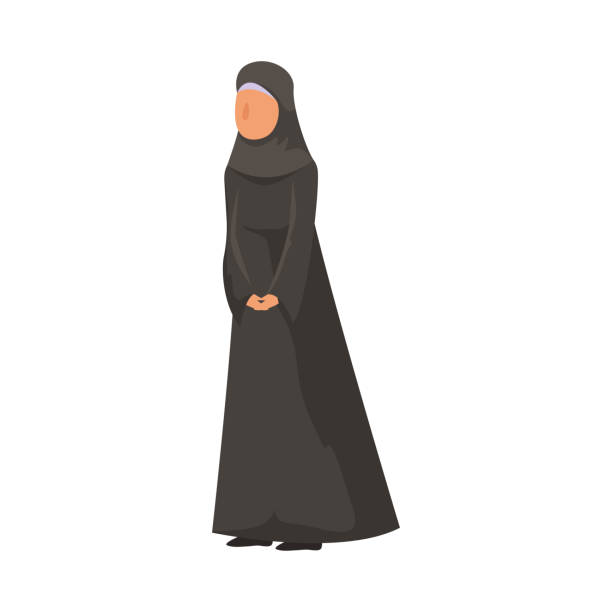 Female Muslim in a traditional ethnic black hijab. Vector illustration in flat cartoon style. Female Muslim standing in a traditional black hijab. Arabian clothes concept. Isolated vector icon illustration on white background in cartoon style. religious veil stock illustrations