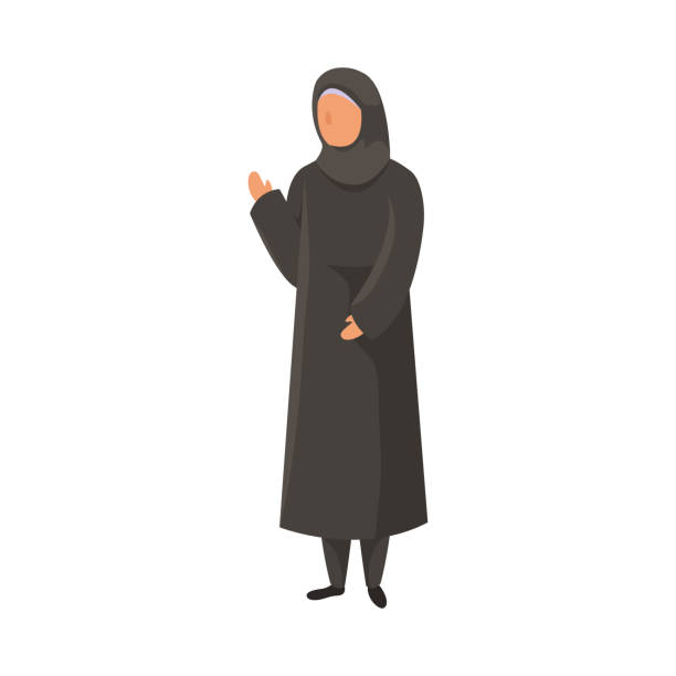 Female Muslim in a traditional ethnic black hijab with raised right hand. Vector illustration in flat cartoon style. Female Muslim standing in a traditional black hijab with the raised right hand. Arabian clothes concept. Isolated vector icon illustration on white background in cartoon style. religious veil stock illustrations