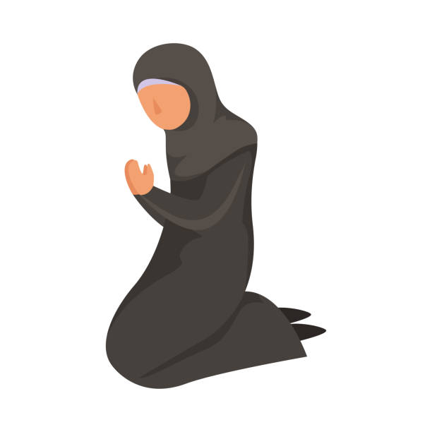 Female Muslim prays in a traditional ethnic black hijab. Vector illustration in flat cartoon style. Female Muslim prays in a traditional ethnic black hijab. Isolated vector icon illustration on white background in cartoon style. religious veil stock illustrations