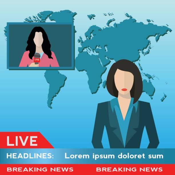 illustrations, cliparts, dessins animés et icônes de femme nouvelle ancre avec journaliste vivre illustration vectorielle de nouvelles couverture - interview