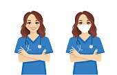 Female nurse character standing with arms crossed wearing protective medical mask isolated vector illustartion