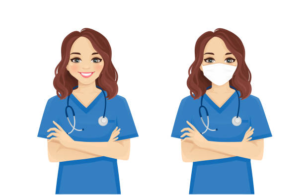 Female nurse character Female nurse character standing with arms crossed wearing protective medical mask isolated vector illustartion beautiful woman stock illustrations