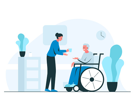 Female nurse giving glass of water to elderly man in a wheelchair. Vector concept illustration of young smiling nurse helping senior man in a wheelchair in a cozy interior with plants and flowerpots