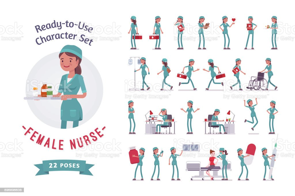 Female nurse ready-to-use character set vector art illustration
