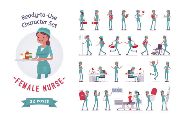 female nurse ready-to-use character set - nurse stock illustrations, clip art, cartoons, & icons