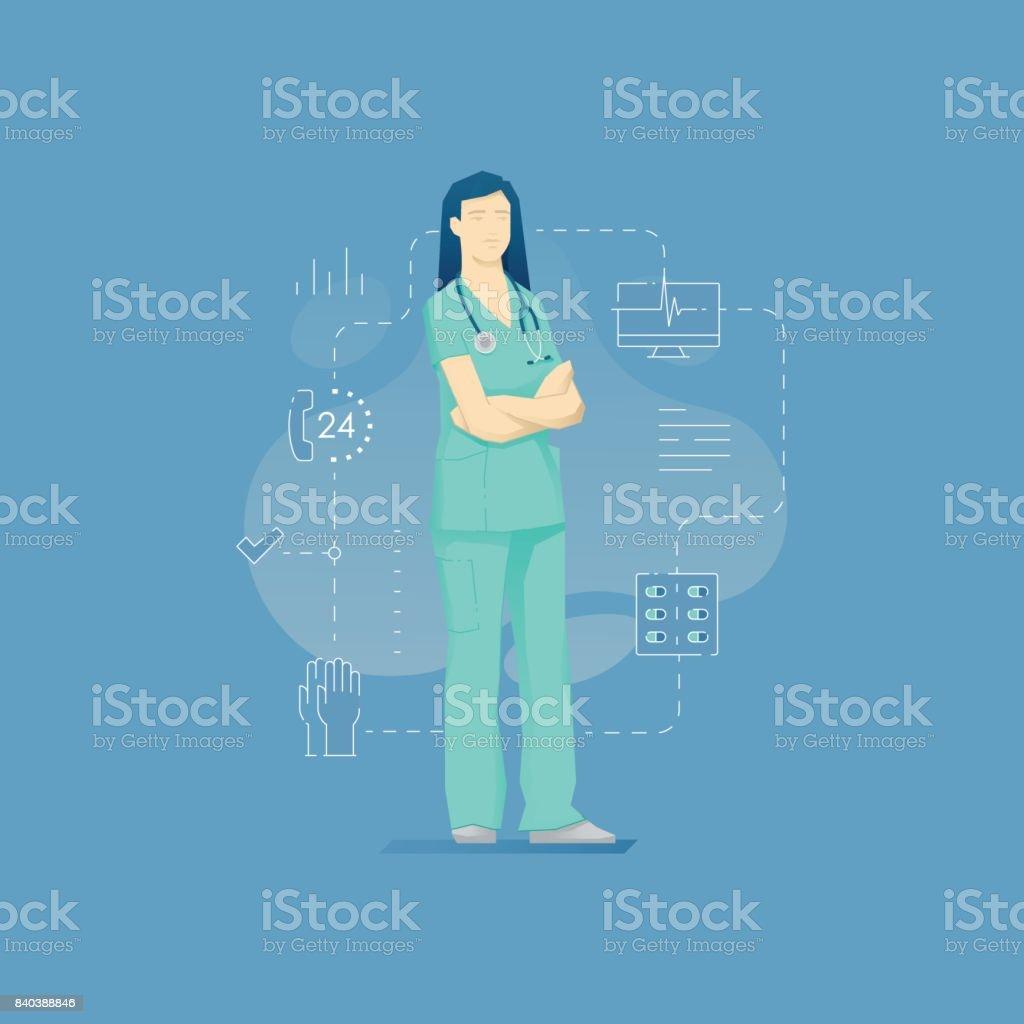 Female nurse with stethoscope vector art illustration