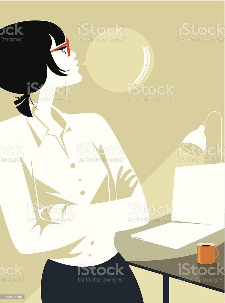 Kobieta Pracownik biurowy. - Grafika wektorowa royalty-free (Bańka)