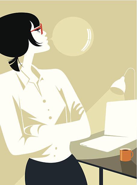 Kobieta Pracownik biurowy. – artystyczna grafika wektorowa