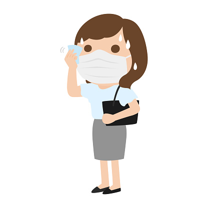 A female office worker who wears a mask in the summer. Illustration that wipes sweat with a handkerchief.