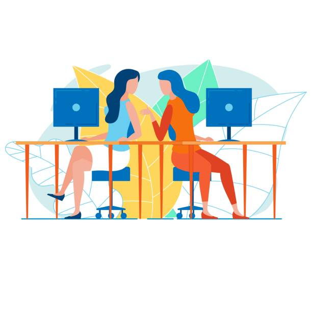 Female Office Workers Talking Shop at Their Desks Female Office Workers Talking Shop at Their Desks coworker stock illustrations