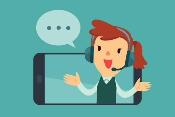 weibliche Betreiber mit Kopfhörer sprechen vom Bildschirm des Smartphones – Vektorgrafik