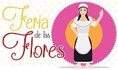 Female Paisa over Flower for Colombian Flowers Festival Celebration