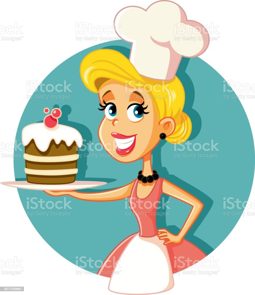 Female Pastry Chef Baking a Cake Vector Illustration vector art illustration