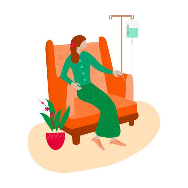 eine patientin, die einen iv-tropfen erhält. - chemotherapie stock-grafiken, -clipart, -cartoons und -symbole