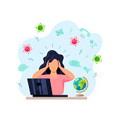 Female person gets too much information. Place for text. Flat cartoon style design vector illustration.
