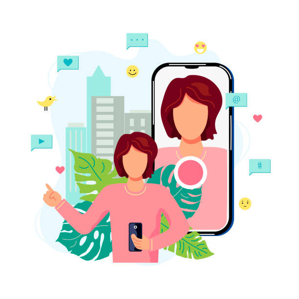 illustrazioni stock, clip art, cartoni animati e icone di tendenza di female person is recording video on smartphone in a city. - woman chat video mobile phone