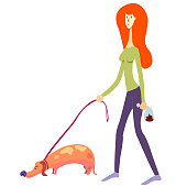 female person picked up the dog's shit. Red haired girl picking up a dog's poop and put it into a doggie bag. isolated on white vector illustration