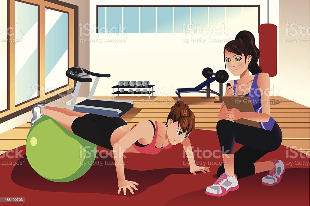 女性パーソナルトレーナーによるトレーニング、ジムの女性 ベクターアートイラスト