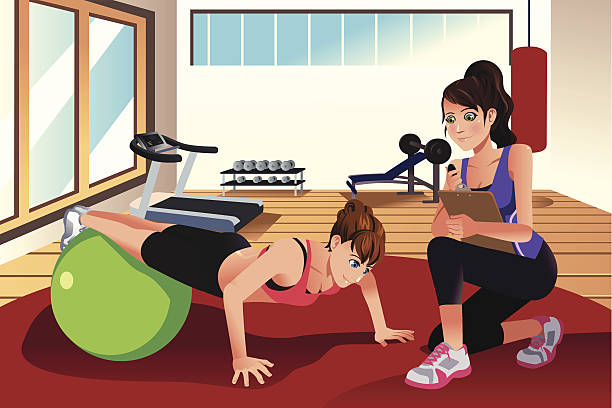 Female personal trainer training a woman in the gym vector art illustration
