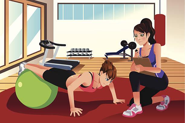 ilustrações, clipart, desenhos animados e ícones de feminino personal trainer treinamento de uma mulher na academia de ginástica - personal trainer