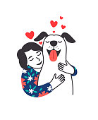 Female pet friend. Cartoon young woman hugging cute puppy with care and love, cozy relaxing friendship of girl and dog, happy poster with red hearts isolated on white background, vector illustration